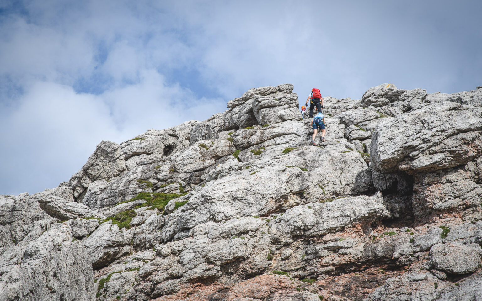 Podejście po skałach na Trogkofel