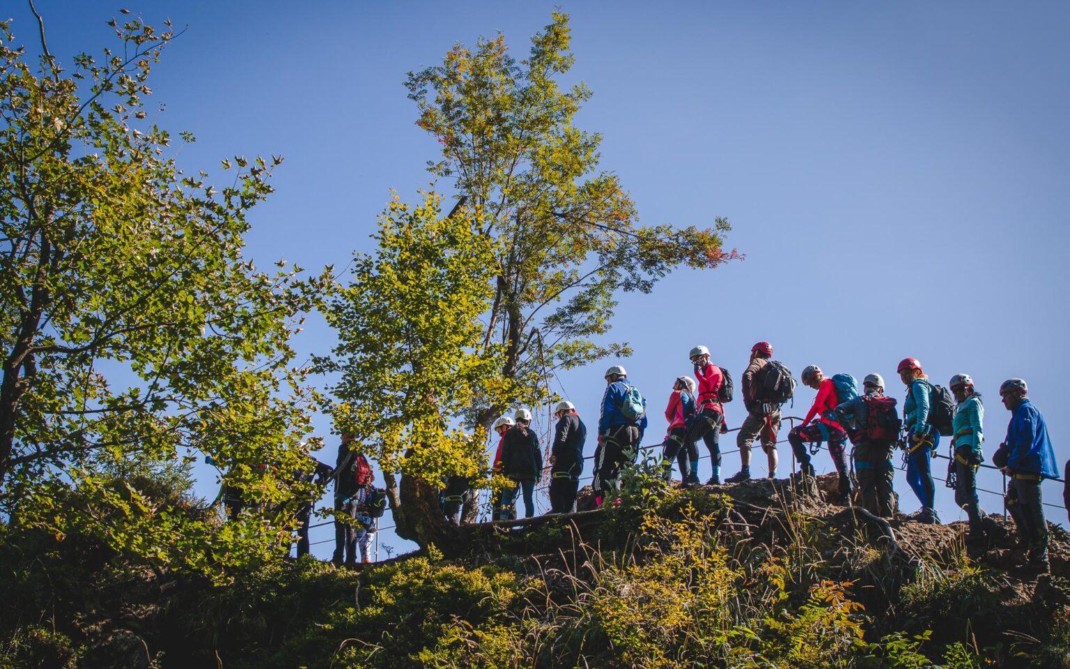 Ludzie czekający w kolejce do mostu linowego