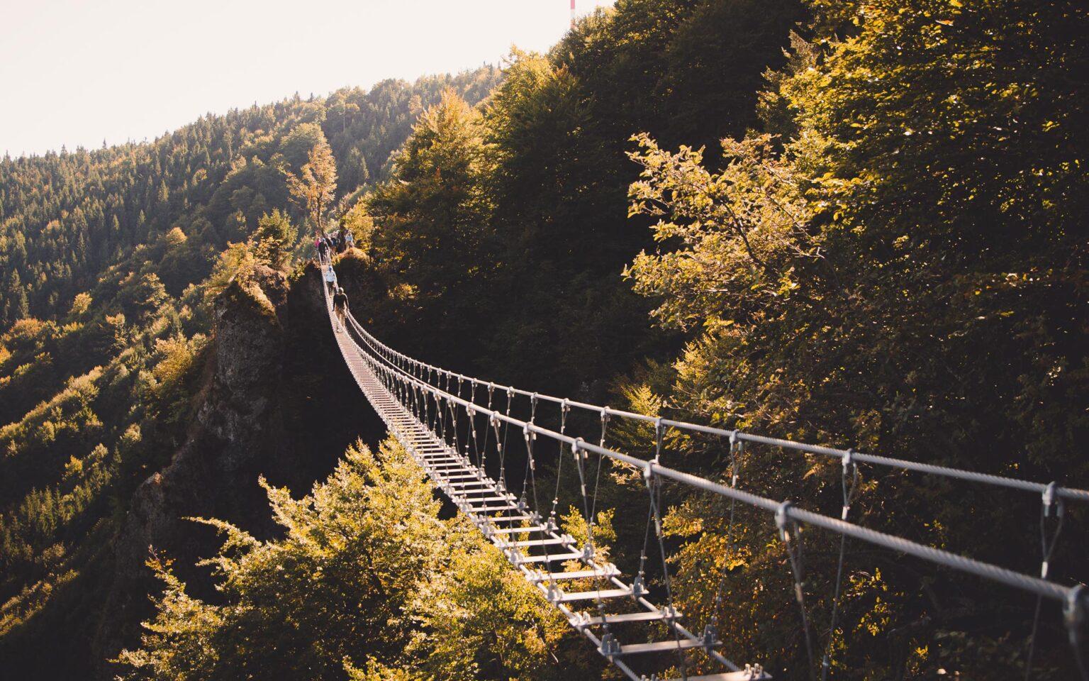 Most linowy na ferracie Kremnickie Wierchy