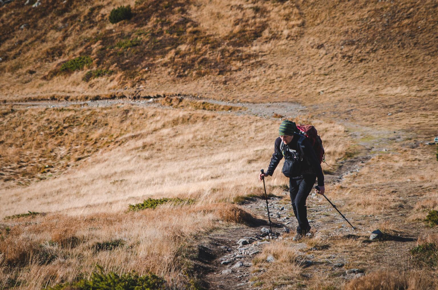 Turysta podchodzi szlakiem
