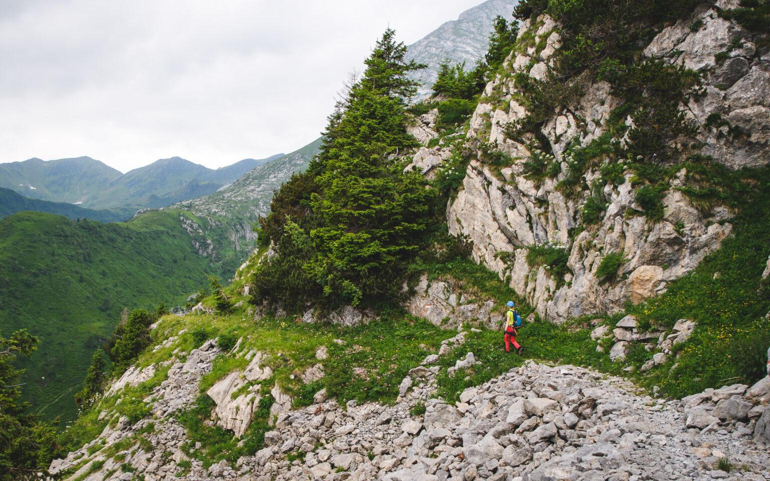 Zejście z ferraty Oberst Gressel Gedenkweg na Plockenpass